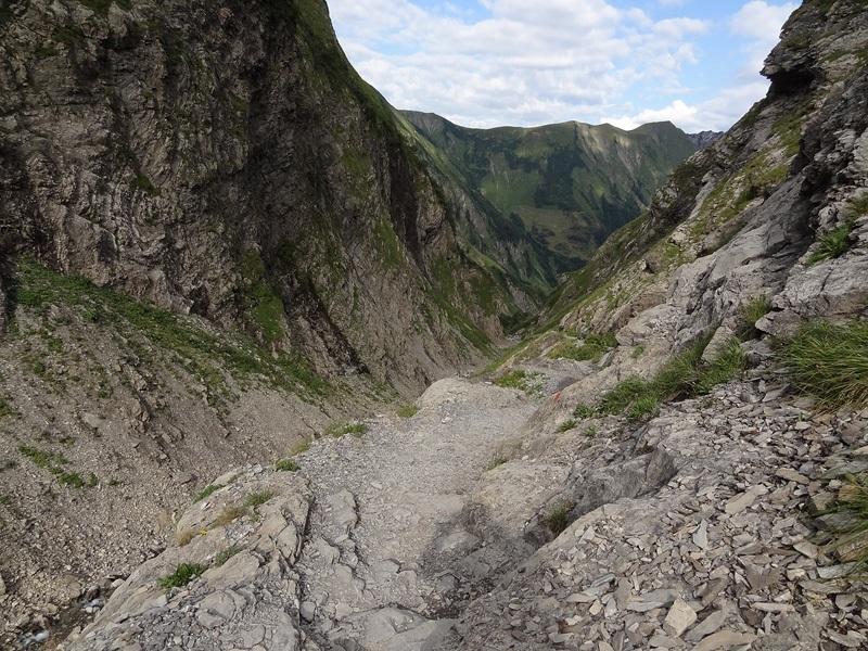 Großer Krottenkopf über Kemptner Hütte: Sperrbachtobel: Der für die Allgäuer Alpen typische Fleckenmergel tritt im Sperrbachtobel zu Tage.