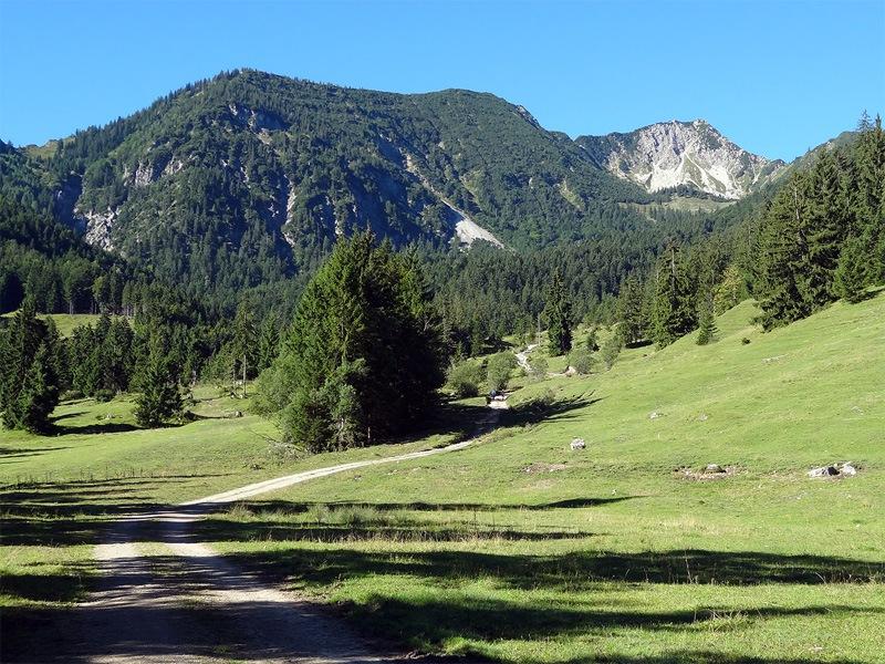 Vom Aiplspitz zur Rotwand: Kleinmiesing: Aufstieg von Geitau zum Geitauer Alpl. Rechts neben dem bewaldeten Kleinmiesing steht der Aiplspitz.