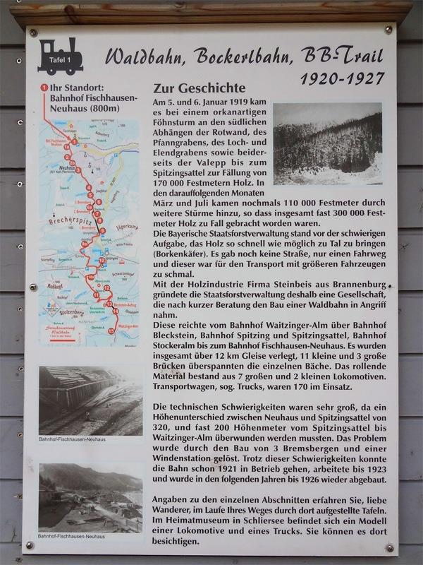 Bockerlbahnweg am Spitzingsee: Bockerlbahnweg: Ausführliche Infotafeln begleiten den Bockerlbahnweg.