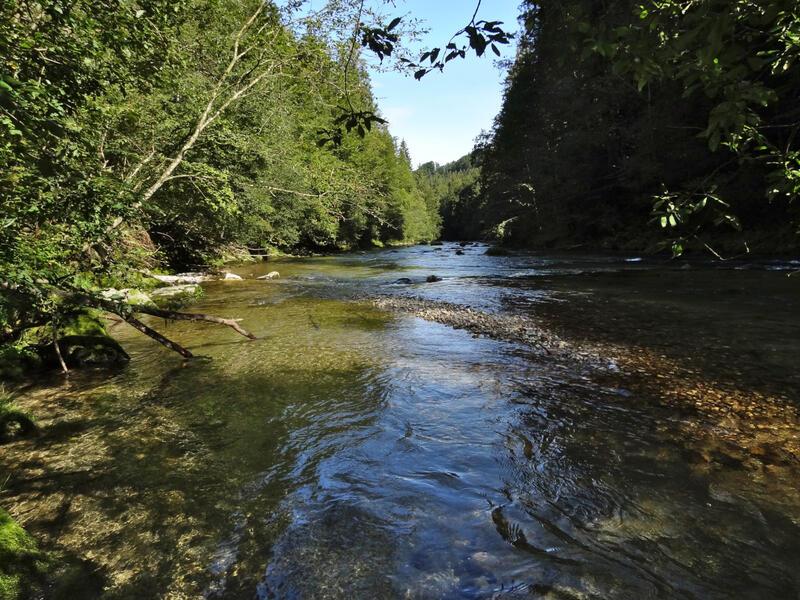 Mangfalltal bei Valley: Mangfall: Dank der naturnahen Befestigung besitzt die Mangfall über weite Strecken noch ein wenig Wildflusscharakter.