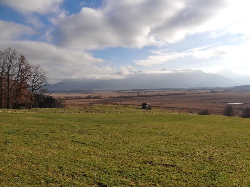 Murnauer Moos: Murnauer Moos: Blick vom Aussichtspunkt bei Seeleiten-Berggeist über das Murnauer Moos. Der Berg im Hintergrund ist der Heimgarten.
